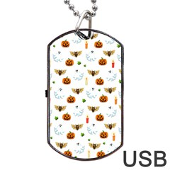 Halloween Pattern Dog Tag Usb Flash (one Side) by Valentinaart