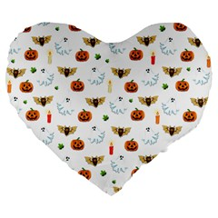 Halloween Pattern Large 19  Premium Flano Heart Shape Cushions by Valentinaart