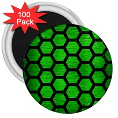 Hexagon2 Black Marble & Green Brushed Metal (r) 3  Magnets (100 Pack) by trendistuff