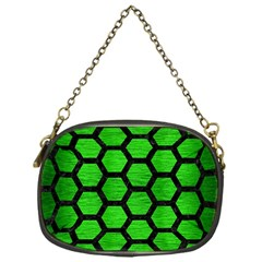 Hexagon2 Black Marble & Green Brushed Metal (r) Chain Purses (one Side)  by trendistuff