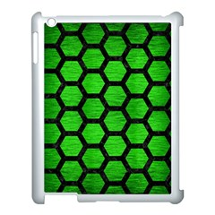 Hexagon2 Black Marble & Green Brushed Metal (r) Apple Ipad 3/4 Case (white) by trendistuff