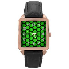 Hexagon2 Black Marble & Green Brushed Metal (r) Rose Gold Leather Watch  by trendistuff