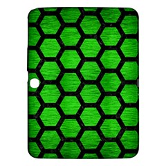 Hexagon2 Black Marble & Green Brushed Metal (r) Samsung Galaxy Tab 3 (10 1 ) P5200 Hardshell Case  by trendistuff