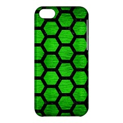 Hexagon2 Black Marble & Green Brushed Metal (r) Apple Iphone 5c Hardshell Case by trendistuff