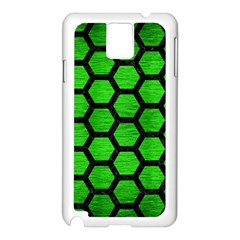 Hexagon2 Black Marble & Green Brushed Metal (r) Samsung Galaxy Note 3 N9005 Case (white) by trendistuff