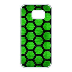 Hexagon2 Black Marble & Green Brushed Metal (r) Samsung Galaxy S7 Edge White Seamless Case by trendistuff