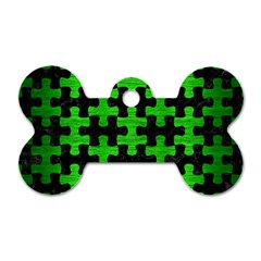 Puzzle1 Black Marble & Green Brushed Metal Dog Tag Bone (one Side) by trendistuff