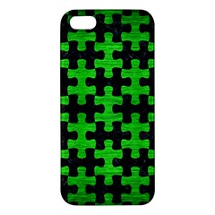 Puzzle1 Black Marble & Green Brushed Metal Apple Iphone 5 Premium Hardshell Case