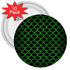 Scales1 Black Marble & Green Brushed Metal 3  Buttons (10 Pack)  by trendistuff