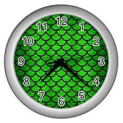 Scales1 Black Marble & Green Brushed Metal (r) Wall Clocks (silver)  by trendistuff