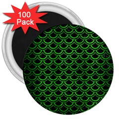 Scales2 Black Marble & Green Brushed Metal 3  Magnets (100 Pack) by trendistuff