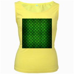 Scales2 Black Marble & Green Brushed Metal (r) Women s Yellow Tank Top