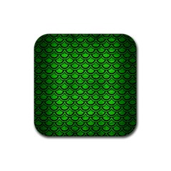 Scales2 Black Marble & Green Brushed Metal (r) Rubber Square Coaster (4 Pack)  by trendistuff