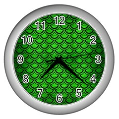 Scales2 Black Marble & Green Brushed Metal (r) Wall Clocks (silver)  by trendistuff