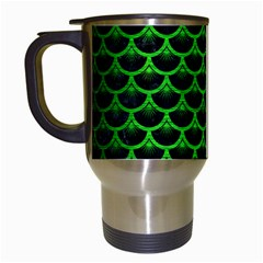 Scales3 Black Marble & Green Brushed Metal Travel Mugs (white) by trendistuff
