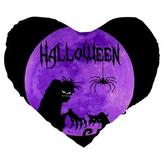 Halloween Large 19  Premium Heart Shape Cushions by Valentinaart