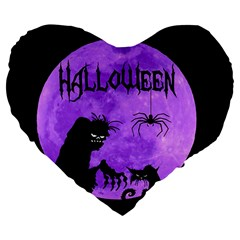 Halloween Large 19  Premium Flano Heart Shape Cushions by Valentinaart