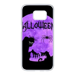 Halloween Samsung Galaxy S7 Edge White Seamless Case by Valentinaart