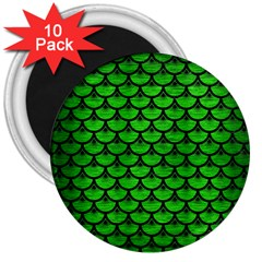 Scales3 Black Marble & Green Brushed Metal (r) 3  Magnets (10 Pack)