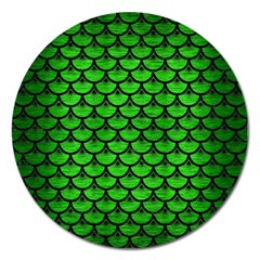 Scales3 Black Marble & Green Brushed Metal (r) Magnet 5  (round) by trendistuff