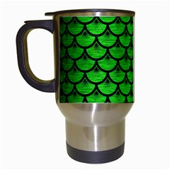 Scales3 Black Marble & Green Brushed Metal (r) Travel Mugs (white) by trendistuff