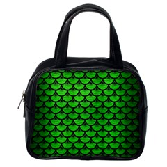 Scales3 Black Marble & Green Brushed Metal (r) Classic Handbags (one Side) by trendistuff