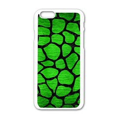 Skin1 Black Marble & Green Brushed Metal Apple Iphone 6/6s White Enamel Case by trendistuff