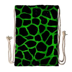 Skin1 Black Marble & Green Brushed Metal (r) Drawstring Bag (large)