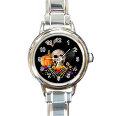 Halloween Candy Keeper Round Italian Charm Watch by Valentinaart