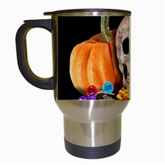Halloween Candy Keeper Travel Mugs (white) by Valentinaart