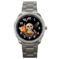 Halloween Candy Keeper Sport Metal Watch by Valentinaart