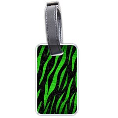 Skin3 Black Marble & Green Brushed Metal Luggage Tags (two Sides) by trendistuff