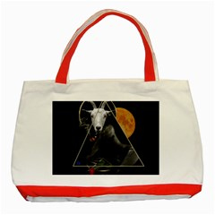 Spiritual Goat Classic Tote Bag (red) by Valentinaart
