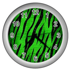 Skin3 Black Marble & Green Brushed Metal (r) Wall Clocks (silver)  by trendistuff