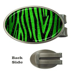 Skin4 Black Marble & Green Brushed Metal (r) Money Clips (oval)  by trendistuff