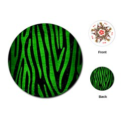 Skin4 Black Marble & Green Brushed Metal (r) Playing Cards (round)  by trendistuff