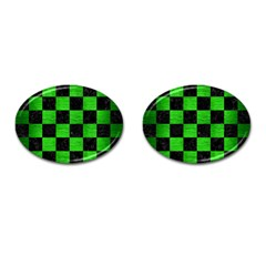 Square1 Black Marble & Green Brushed Metal Cufflinks (oval) by trendistuff