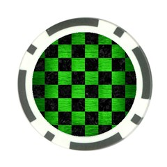 Square1 Black Marble & Green Brushed Metal Poker Chip Card Guard by trendistuff