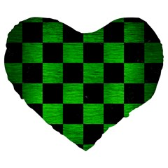 Square1 Black Marble & Green Brushed Metal Large 19  Premium Heart Shape Cushions by trendistuff