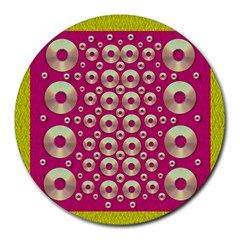 Going Gold Or Metal On Fern Pop Art Round Mousepads by pepitasart