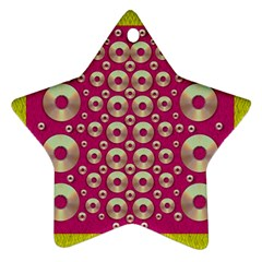 Going Gold Or Metal On Fern Pop Art Ornament (star) by pepitasart