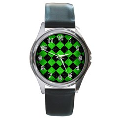 Square2 Black Marble & Green Brushed Metal Round Metal Watch by trendistuff