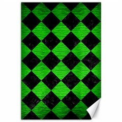 Square2 Black Marble & Green Brushed Metal Canvas 12  X 18   by trendistuff