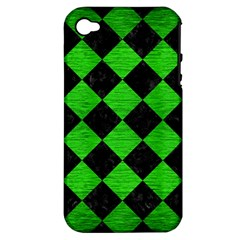 Square2 Black Marble & Green Brushed Metal Apple Iphone 4/4s Hardshell Case (pc+silicone) by trendistuff