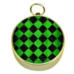 Square2 Black Marble & Green Brushed Metal Gold Compasses