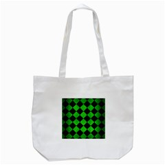 Square2 Black Marble & Green Brushed Metal Tote Bag (white) by trendistuff