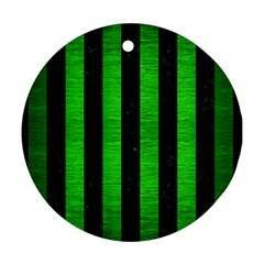Stripes1 Black Marble & Green Brushed Metal Round Ornament (two Sides) by trendistuff