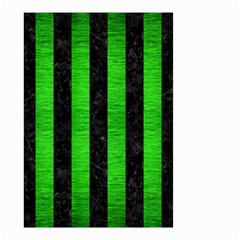 Stripes1 Black Marble & Green Brushed Metal Small Garden Flag (two Sides)
