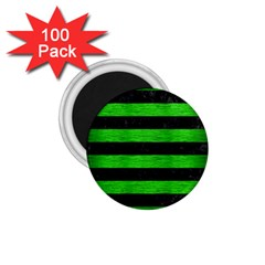 Stripes2 Black Marble & Green Brushed Metal 1 75  Magnets (100 Pack)  by trendistuff