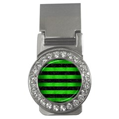 Stripes2 Black Marble & Green Brushed Metal Money Clips (cz)  by trendistuff